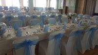 Baby blue sashes ath the Redcliffe hotel Paignton