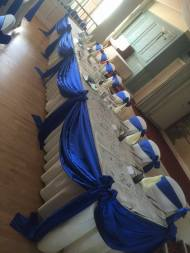 royal blue satin top table swag